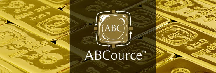 AB Cource logo with ABC Bullion gold bars in the background
