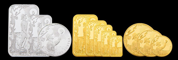 Gold and silver Eureka bars and coins