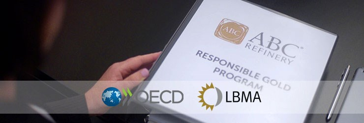 ABC Refinery Responsible Gold Program binder with environmental logos displayed across the front